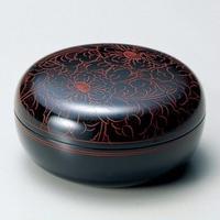 朱牡丹彫 菓子器(黒内朱)