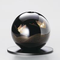 波に鶴 丸型花器(黒)