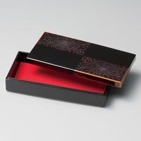 牡丹彫 白檀市松 長手箱(黒)