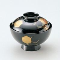 四君子亀甲 吸物椀(黒)5客セット