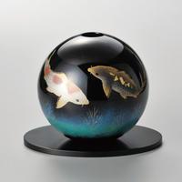 鯉 丸型花器(黒)