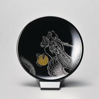 龍 飾り皿(小)スタンド付き(黒)