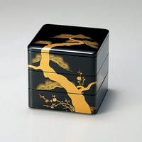松竹梅蒔絵 65三段重(黒内朱)