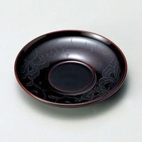 花彫り 茶托(溜)5枚セット