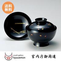 松葉に桜 吸物椀(黒)5客セット