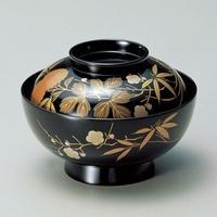 四君子 煮物椀(黒)