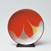 二羽鶴 飾り皿スタンド付き(朱)