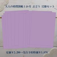 【先行予約特価】大人の時間割帳(1か月)お徳用12冊セット ぶどう