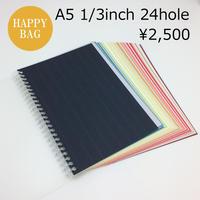 A5サイズ24穴 カラフルな手帳リフィル260g(ツイストノート・リング製本用・1/3インチピッチ穴)
