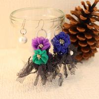 青紫緑花ピアス