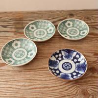 A012【小皿】青磁色と青色の印判 2種4点