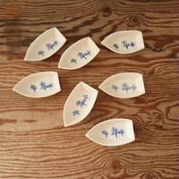 A011【小皿】印判染付け 船形 7点