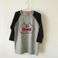 ▲送料無料 130サイズ/ラグラン七分そで ねこもぐらさんTシャツE オーガニックコットン uyoga cat mole ネイビー×グレー ほっぺあり 1001番目のねこもぐらさん