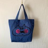 ▲送料無料 Sサイズ  ねこもぐらさん コットンツイル トートバッグ   uyoga cat mole  ライトブルーデニム ほっぺあり 1179番目のねこもぐらさん