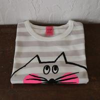 ▲送料無料 110サイズ/半そで ねこもぐらさん Tシャツ しましま オーガニックコットン ライトシルバーグレー ボーダー ほっぺあり 1208番目のねこもぐらさん