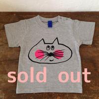▲送料無料 90サイズ/半そで ねこもぐらさんTシャツ 6.2oz uyoga cat mole ミックスグレー ほっぺあり 589番目のねこもぐらさん