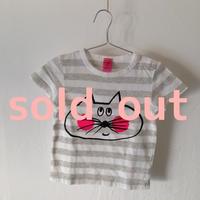 ▲送料無料 80サイズ/半そで ねこもぐらさんしましまTシャツE オーガニックコットン uyoga cat mole グレー×ホワイト ほっぺあり 866番目のねこもぐらさん