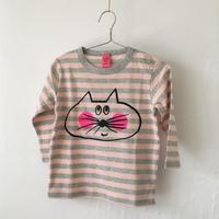 ▲送料無料 90サイズ/長そで ねこもぐらさんしましまTシャツE オーガニックコットン uyoga cat mole ベビーピンク×グレー ボーダー ほっぺあり 1108番目のねこもぐらさん