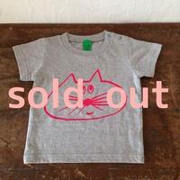 ▲送料無料 80サイズ/半そで ねこもぐらさんTシャツ 6.2oz uyoga cat mole ミックスグレー ほっぺなし
