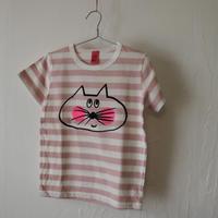 ▲送料無料 110サイズ/半そで ねこもぐらさん Tシャツ しましま オーガニックコットン ピンク ボーダー ほっぺあり 1207番目のねこもぐらさん