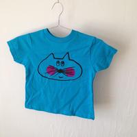 ▲送料無料 100サイズ/半そで ねこもぐらさんTシャツR 5.5oz uyoga cat mole ターコイズ ほっぺあり 876番目のねこもぐらさん