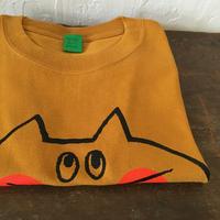▲送料無料 130サイズ/半そで ねこもぐらさんTシャツC 6.2oz uyoga cat mole マスタード ほっぺあり 1035番目のねこもぐらさん