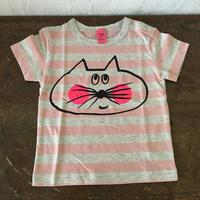 ▲送料無料 80サイズ/半そで ねこもぐらさんしましまTシャツE オーガニックコットン uyoga cat mole  ライトピンク×グレー ボーダー ほっぺあり 1014番目のねこもぐらさん