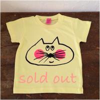 ▲送料無料 80サイズ/半そで ねこもぐらさんTシャツ 6.2oz uyoga cat mole ライトイエロー ほっぺあり 528番目のねこもぐらさん