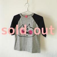 ▲送料無料 90サイズ/ラグラン七分そで ねこもぐらさんTシャツE オーガニックコットン uyoga cat mole  ネイビー×グレー ほっぺあり 997番目のねこもぐらさん