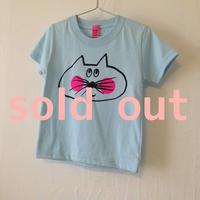 ▲送料無料 100サイズ/半そで ねこもぐらさんTシャツ 5.6oz uyoga cat mole ライトブルー ほっぺあり 797番目のねこもぐらさん