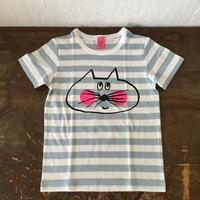 ▲送料無料 110サイズ/半そで ねこもぐらさんしましまTシャツE オーガニックコットン uyoga cat mole ライトブルー×ホワイト ボーダー ほっぺあり 1023番目のねこもぐらさん