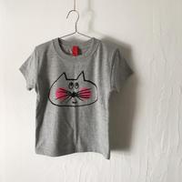 ▲送料無料 110サイズ/半そで ねこもぐらさんTシャツ 5.6oz uyoga cat mole ミックスグレー ほっぺあり 1072番目のねこもぐらさん