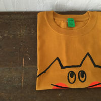 ▲送料無料 150サイズ/半そで ねこもぐらさんTシャツC 6.2oz uyoga cat mole マスタード ほっぺあり 1034番目のねこもぐらさん