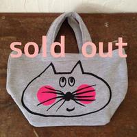 ▲送料無料 Sサイズ/スウェット生地 ねこもぐらさん トートバッグ uyoga cat mole ミックスグレー ほっぺあり 574番目のねこもぐらさん