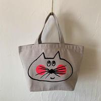 ▲送料無料 Sサイズ/キャンバス生地 ねこもぐらさん トートバッグ uyoga cat mole ライトグレー ほっぺあり 1150番目のねこもぐらさん