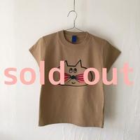 ▲送料無料 110サイズ/半そで ねこもぐらさんTシャツC 6.2oz uyoga cat mole キャメル ほっぺあり 914番目のねこもぐらさん
