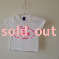 ▲送料無料 90サイズ/半そで ねこもぐらさんTシャツ 5.6oz uyoga cat mole ホワイト ほっぺなし/蛍光ピンク 788番目のねこもぐらさん