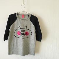 ▲送料無料 110サイズ/ラグラン七分そで ねこもぐらさんTシャツE オーガニックコットン uyoga cat mole ネイビー×グレー ほっぺあり 999番目のねこもぐらさん