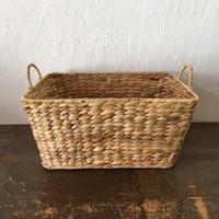 やさしい風合いの四角い手づくりかご ベトナム handmade  ウォーターヒヤシンス スクエア バスケット