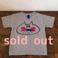▲送料無料 100サイズ/半そで ねこもぐらさんTシャツ 6.2oz uyoga cat mole ミックスグレー ほっぺあり 586番目のねこもぐらさん