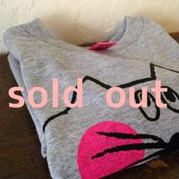 ▲送料無料 80サイズ/長そで ねこもぐらさんTシャツR uyoga cat mole ダークヘザー ほっぺあり 643番目のねこもぐらさん