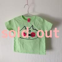 ▲送料無料 90サイズ/半そで ねこもぐらさんTシャツR 5.5oz uyoga cat mole ミント ほっぺあり 848番目のねこもぐらさん