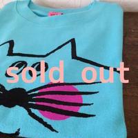 ▲送料無料 130サイズ/半そで ねこもぐらさんTシャツ 6.2oz uyoga cat mole アクアブルー ほっぺあり 613番目のねこもぐらさん
