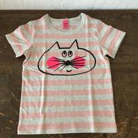 ▲送料無料 100サイズ/半そで ねこもぐらさんしましまTシャツE オーガニックコットン uyoga cat mole ライトピンク×グレー ボーダー ほっぺあり 1020番目のねこもぐらさん