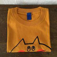 ▲送料無料 130サイズ/半そで ねこもぐらさんTシャツC 6.2oz uyoga cat mole マスタード ほっぺあり 1015番目のねこもぐらさん