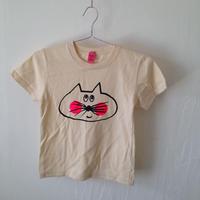 ▲送料無料 120サイズ/半そで ねこもぐらさんTシャツ 5.6oz uyoga cat mole ナチュラル ほっぺあり 860番目のねこもぐらさん