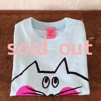 ▲送料無料 80サイズ/半そで ねこもぐらさんTシャツB uyoga cat mole ライトブルー