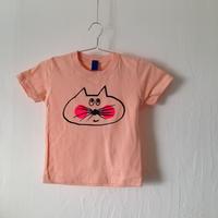 ▲送料無料 110サイズ/半そで ねこもぐらさんTシャツ 5.6oz uyoga cat mole アプリコット ほっぺあり 858番目のねこもぐらさん