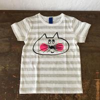 ▲送料無料 110サイズ/半そで ねこもぐらさんしましまTシャツE オーガニックコットン uyoga cat mole ライトグレー×ホワイト ボーダー ほっぺあり 1022番目のねこもぐらさん