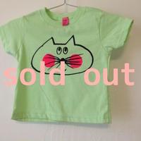 ▲送料無料  90サイズ/半そで ねこもぐらさんTシャツR 5.5oz uyoga cat mole ミント ほっぺあり 760番目のねこもぐらさん